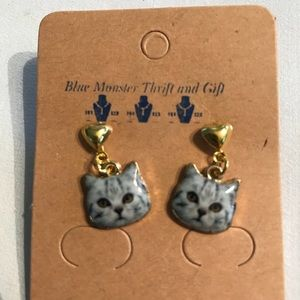 Dangle Cat Earrings in gold tone